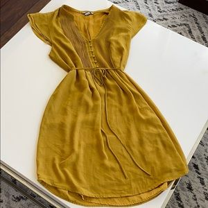 Yellow chiffon mini dress